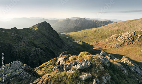 Sunset over Ennerdale from Scoat Fell views of Steeple and Pillar In the English Lake District, UK. - 251570155
