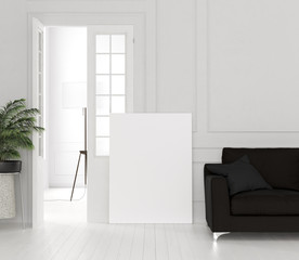 Mock up canvas in home interior, 3d render