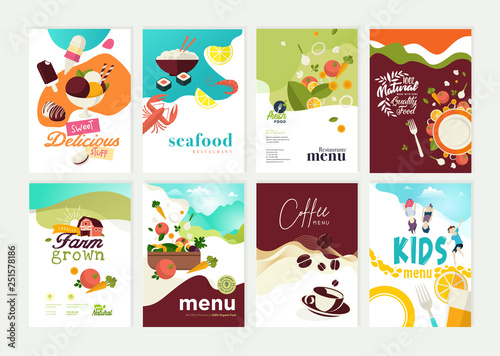Set of restaurant menu, brochure, flyer design templates. Vector illustrations for food and drink marketing material, natural products presentation, cover design, wine list and cocktail menu templates - 251578186