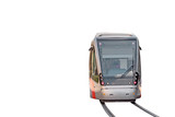 Modern tramway isolated with rails on white background