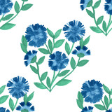 Vector seamless pattern with blue cornflowers on white
