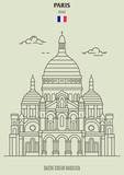 Fototapeta Paryż - Sacre Coeur Basilica in Paris, France. Landmark icon © daw666