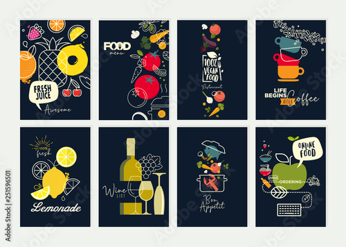 Set of restaurant menu, brochure, flyer design templates. Vector illustrations for food and drink marketing material, natural products presentation, cover design, wine list and cocktail menu templates - 251596501