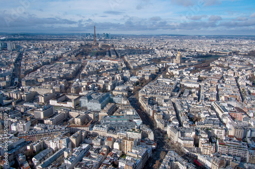 mata magnetyczna Paris in winter general view of 7th arrondissement from above