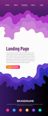 Landing page design template. Wave origami paper cut style. Can be used for ui, web, print design. Vector © Maxim Pavlov