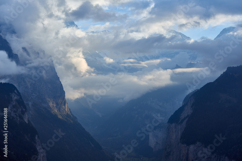 Cloudy view of the mountains in Lauterbrunnen valley in Switzerland. - 251646188