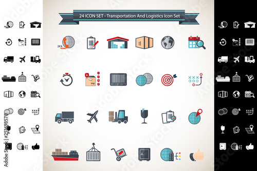 Logistics And Shipping, Transport Icon Set