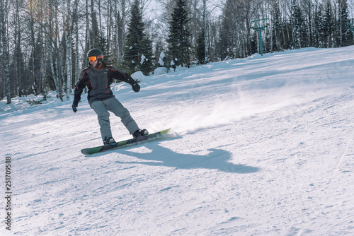 mata magnetyczna Snowboarding from a snowy mountain. Active lifestyle. Health.