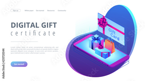 Digital gift card isometric 3D landing page.