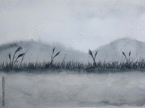 watercolor painting ink reed or grass landscape mountain reflect river in the fog.  © atichat