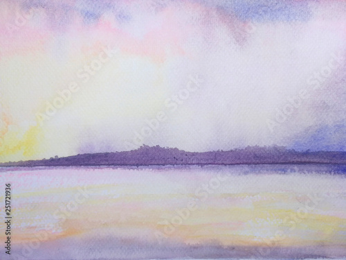 watercolor sea and mountain landscape pink sunset sky. © atichat