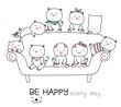 Cute baby pig with sofa cartoon hand drawn style,for printing,product,banner,t shirt.vector illustration