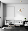 Mock up poster frame in Scandinavian style hipster interior. Minimalist modern interior design. 3D illustration.