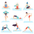 People in Yoga Positions Set, Men and Women Practicing Asana and Performing Yoga Exercises Vector Illustration