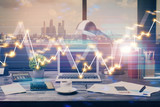 Double exposure of stock market chart and office desktop on background. financial strategy concept. - 251768144