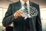 double exposure of human brain sketch and man hand. Brainstorming concept. - 251768303