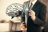 double exposure of human brain sketch and man hand. Brainstorming concept. - 251768313