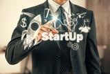 Business scheme concept, startup double exposure background. - 251768324