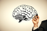 double exposure of human brain sketch and man hand. Brainstorming concept. - 251768341