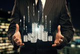 Double exposure with growth coins columns and man hand. Concept of success savings and capital. - 251768362