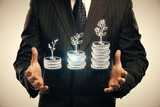 Double exposure with growth coins columns and man hand. Concept of success savings and capital. - 251768371