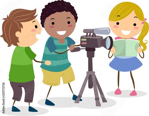 Stickman Kids Recording Video Camera Illustration - 251772758