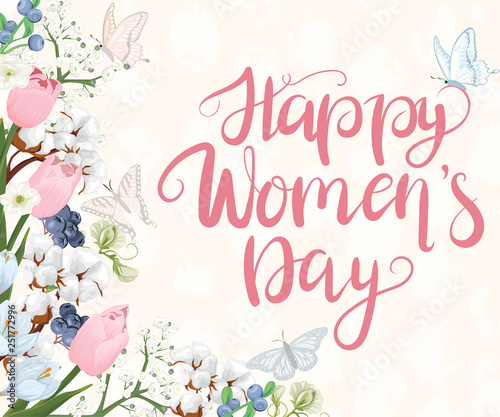 Happy Women's Day. Greeting illustration with flowers