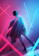 A futuristic female model in a space outfit and helmet posing in neon lighting. conceptual people 3D illustration.