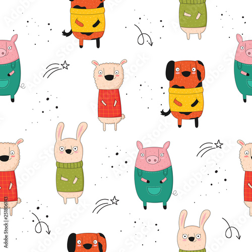 mata magnetyczna Vector seamless pattern with cartoon funny animals