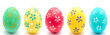 Collection of photos perfect colorful handmade easter egg isolated