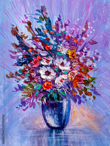 Bouquet of wild flowers. Impressionist style.