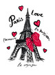 hand-drawn eiffel tower, ink, hearts, inscriptions, isolated