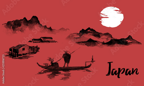 Japan traditional sumi-e painting. Indian ink illustration. Man and boat. Sunset, dusk. Japanese picture. © helen_f