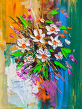 Oil painting Daisy flowers.Impressionist style.