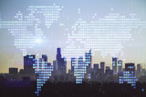 Double exposure of World map polygonal with city background. Globalization concept. Los Angeles - 251818559