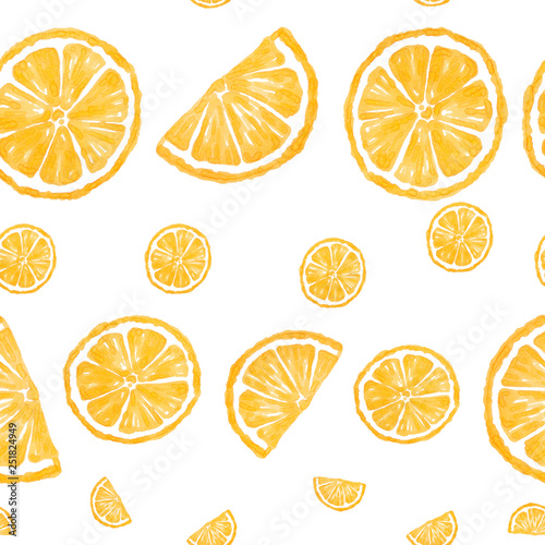 Yellow lemon slices painting isolated on white background - seamless pattern © justesfir