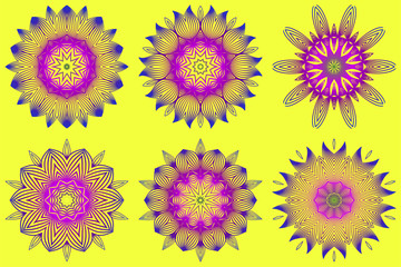 Set of Vector With Mandala Pattern. Repeating Sample Figure And Line. Modern Decorative Floral Color Mandala. Yellow purple color