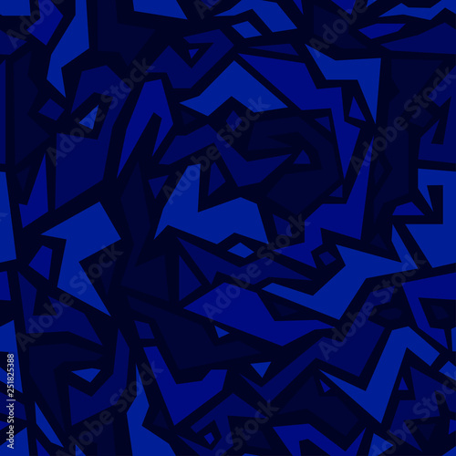 Ethnic pattern in monochrome ultramarine color, seamless texture. African style. Tribal background. Fashionable printing on fabric or wrapper. Vector wallpaper