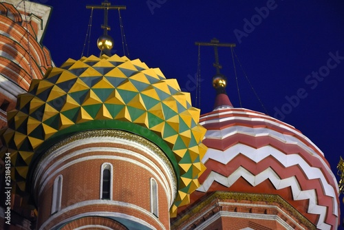 Saint Basils cathedral on the Red Square in Moscow. Color night photo.