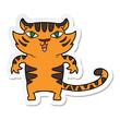 sticker of a happy cartoon tiger