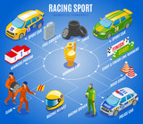 Racing Sports Isometric Flowchart