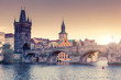 Leinwanddruck Bild - Stunning image of Charles bridge in Prague.