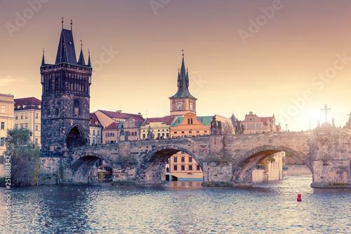 Leinwanddruck Bild Stunning image of Charles bridge in Prague.