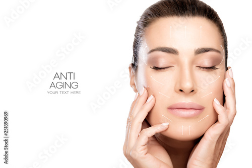 Surgery and Anti Aging Concept. Beauty face spa woman with white arrows over face