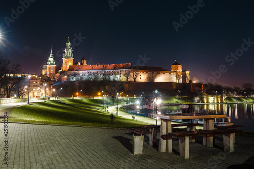 Wawel hill with royal castle at night. Krakow is one of the most famous landmark in Poland