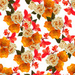 Floral beautiful  background with yellow rose and red canna lilly  vector illustration