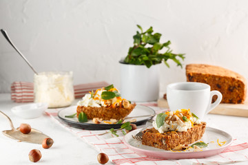 carrot fruit cake with nuts and cream