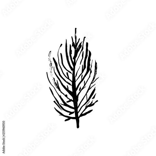 Tree silhouette. Hand drawn vector illustration.