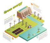 Fototapeta Łazienka -  Green Energy Isometric Composition  © macrovector