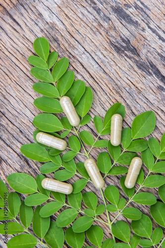 Herbal powder medicine in capsules for healthy eating  - 251965946